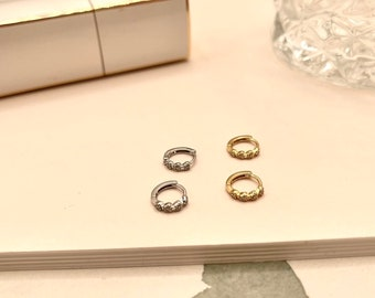 Pave Huggie Hoop • Hypoallergenic 18k Earring Diamond Hypoallergenic • 18k Gold Plated Titanium Fill Gold • Rose Gold Silver