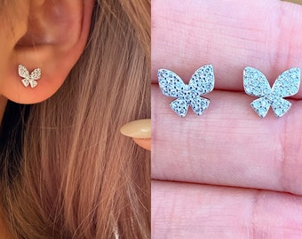 Butterfly CZ Stud Earring Gold  Textured Hypoallergenic 18k Gold Titanium Minimalist Minimalistic Dainty Click Close