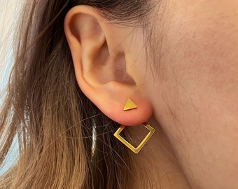 Geometric 2 in 1 Dainty Gold Ears • customizable 18k Gold Plated Statement • Hypoallergenic Nickel Free