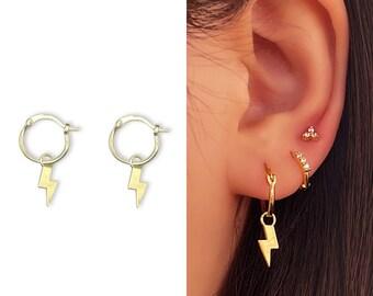 Tiny Lighting Bolt Hoop Earrings • 14k Gold Dainty Earrings • Huggie Hoops Earrings •  925 SilverEarrings • Minimalist Earrings