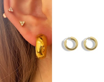 Chunky Gold Huggie Hoop Earrings • Plain Thick 18k Gold Titanium • Minimalist Click Close • Hypoallergenic nickle free