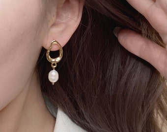 World's Your Oyster Pearl Drop Gold Earrings