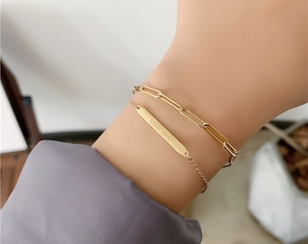 Good Luck Chain Double Strand Bracelet Charm 18k Gold Adjustable Stackable Layering