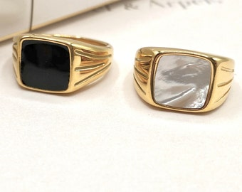 Cigar Thick Ring Gold Chunky Dome Signet Twist 18k Plated Ring Statement Ring Mother of Pearl Onyx