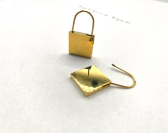 Lock Charm 18k Gold Plated Earrings Hypoallergenic Nickle Free Titanium Fill