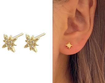 Star Stud Earring Gold • Huggie Hoop Textured Hypoallergenic • 18k Gold Titanium Minimalist Minimalistic • Dainty Click Close