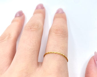 Thin Gold Band •  Dainty 18k Ring • Delicate Simple Stackable • Twisted Tiny Gold Dainty •  Minimalistic
