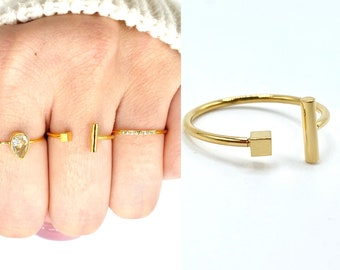 Thin Gold Band •  Dainty 18k Ring • Open Ring Delicate • Simple Stackable • Tiny Gold Dainty •  Minimalistic