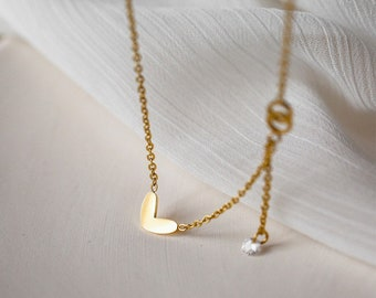 18k Gold Plated Heart infinite Love Gem Tiny Dainty Delicate Simple Beaded Shimmering Adjustable Necklace - minimalist dainty layering