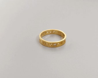 Gold Ring Band CZ Roman Numerals Thick Ring Gold Chunky Statement Ring 18 Gold Plated Titanium Fill Ring