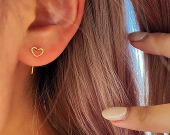Dainty Wire Heart Stud Earring Gold  Textured Hypoallergenic 18k Gold Titanium Minimalist Minimalistic Dainty Click Close