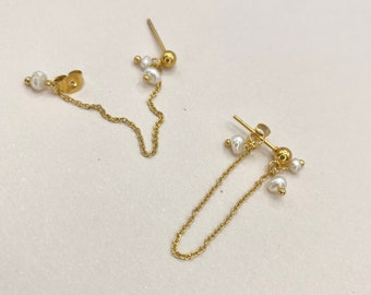 Pearl Dangly Earring Gold Front Back Dainty Minimalist dangle chain 18k Titanium Hypoallergenic Nickel Free