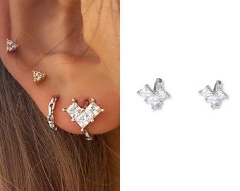 Tiny Cz Heart Hoop Earrings • 14k Gold Dainty Earrings • Huggie Hoops Earrings •  925 SilverEarrings • Minimalist Earrings