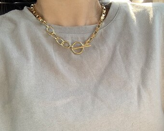 Thick Chain Necklace chunky Gold Cuban Chain Chunky 18k Plated Titanium