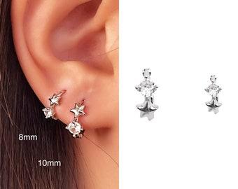 Tiny Star Earrings • CZ Dainty Earrings • Huggie Hoops Earrings •  Cubic Zirconia Earrings • Minimalist Earrings • Gift for Her