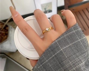 Gem Two in One Irregular Dainty Ring Gold 18 Gold Plated Titanium Fill Ring