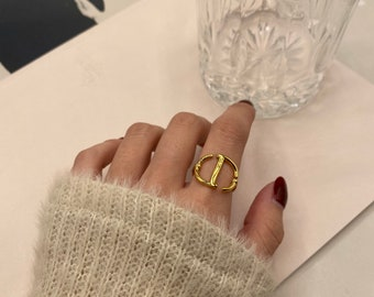 Thick Ring Gold Chunky CD  Statement Ring 18 Gold Plated Titanium Fill Adjustable Ring