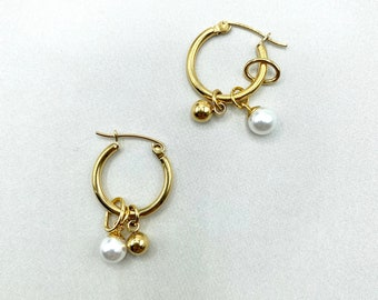 Pearl Hoop Charm Earrings Dainty Dangle Minimalist Simple Dangly Gold Hypoallergenic 18k Gold Plated Delicate