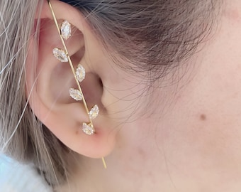 Ear Cuff Climber Hook Shiny Hypoallergenic CZ Bling Gold Earring