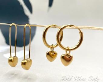 Gold Heart Earrings Huggie Hoop Paper Clip Charm Dangle Dainty Minimalist Dainty Simple Earring Valentine Gift For Her