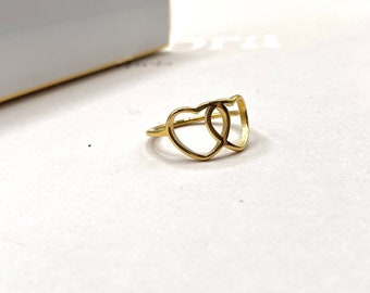 Ring Gold Dainty Valentine's Stacking Tiny Thin Heart 18k Band Simple 18k Plated Dainty hearts - minimalist simple minimalistic
