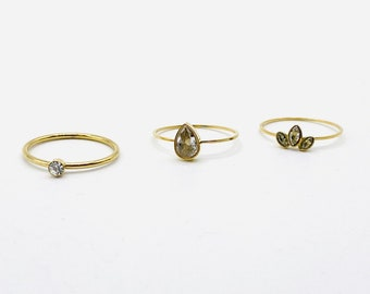 Thin Gold Band •  Dainty 18k Ring Set •  Delicate Simple Stackable •  Tiny Gold Dainty Minimalistic