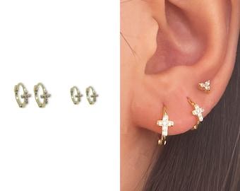 Tiny Cross Earrings • CZ Dainty Earrings • Huggie Hoops Earrings •  Cubic Zirconia Earrings • Minimalist Earrings • Gift for Her