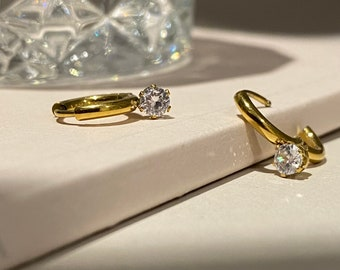 Gem Teeny Tiny Huggie Hoop • Hypoallergenic 18k Earring • Diamond Hypoallergenic 18k Gold • Plated Titanium Fill Gold Rose Gold Silver