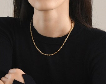 Gold Twisted Rope Chain Necklace Chunky Choker Thick 18k Gold Cuban Chain Chunky 18k Plated Titanium