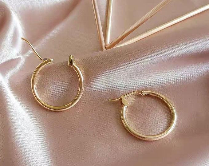 Featured listing image: Titanium Gold Hoops • Hypoallergenic 18k Gold Hoop Earrings • Simple 18k Gold Plated Titanium • Fill Nickle Free Minimalistic • Chic Dainty