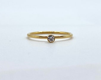 Thin Gold Band Dainty • 18k Ring Delicate Simple • Stackable tiny • Gold Dainty Minimalistic