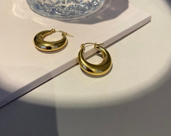 Hoop Tapered Gold • 18k Hypoallergenic Gold Silver • Titanium Earrings nickel Free Gold Plated