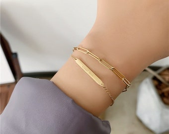 Good Luck Chain • Double Strand Bracelet Charm • 18k Gold Adjustable Stackable • Layering