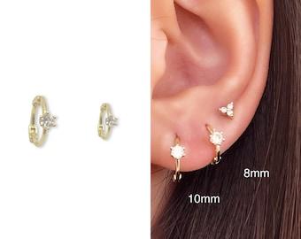 Tiny Earrings • CZ Dainty Earrings • Huggie Hoops Earrings •  Cubic Zirconia Earrings • Minimalist Earrings • Gift for Her