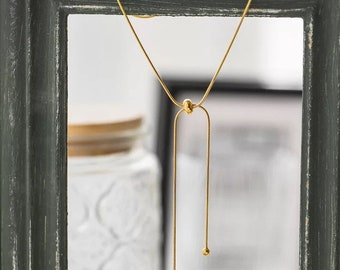 Dainty Gold 18k Bow necklace Layering Minimalistic delicate Tiny Stacked Shiny Minimalist Adjustable Stackable Arm