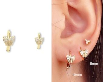 Tiny Butterfly Earrings • CZ Dainty Earrings • Huggie Hoops Earrings •  Cubic Zirconia Earrings • Minimalist Earrings • Gift for Her