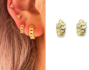 Chunky Thick Gold Huggie Hoop • Textured Hypoallergenic 18k Gold • Titanium Minimalist Minimalistic • Dainty Click Close