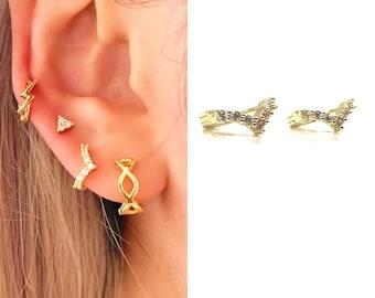 Tiny V Hoop Earrings • 14k Gold CZ Dainty Earrings • Huggie Hoops Earrings •  Cubic Zirconia Earrings • Minimalist Earrings • Gift for Her