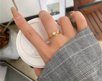 Gem Two in One •  Irregular Dainty Ring Gold • 18k Gold • Plated Titanium Fill Ring