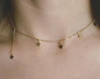 Falllen Star 18k Gold Plated Choker Necklace