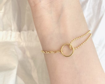 Mixed Chain Bracelet • adjustable 18k Gold plated • minimalist dainty