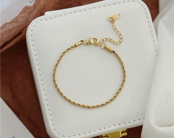 Gold Twisted Rope Chain Bracelet Chunky Thick 18k Gold Cuban Chain Chunky 18k Plated Titanium