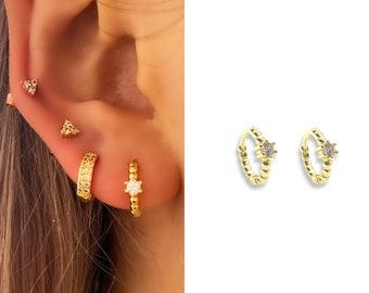Tiny Gem CZ Huggie Hoop Earrings • 14k Gold Dainty Earrings • Huggie Hoops Earrings •  925 SilverEarrings • Minimalist Earrings