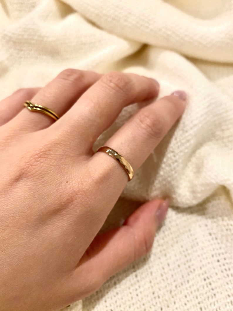 Ring Band Simple Rose Gold 18k plated ring band minimalist dainty jewellery Stacking Shiny