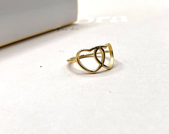 Ring Gold Dainty •  Valentine's Stacking Tiny Thin • Heart 18k Band Simple • 18k Plated Dainty hearts • minimalist simple minimalistic