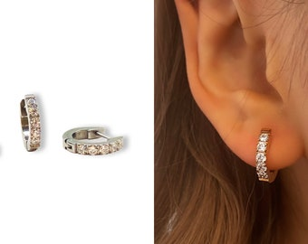 Pave Huggie Hoop • Hypoallergenic 18k Earring • Diamond Hypoallergenic • 18k Gold Plated Titanium Fill • Gold Rose Gold Silver