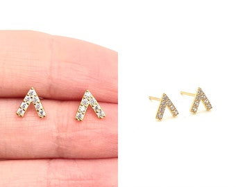 Tiny V Stud Earrings • CZ Dainty Earrings • Small Stud Earrings •  Cubic Zirconia Earrings • Minimalist Earrings • Gift for Her