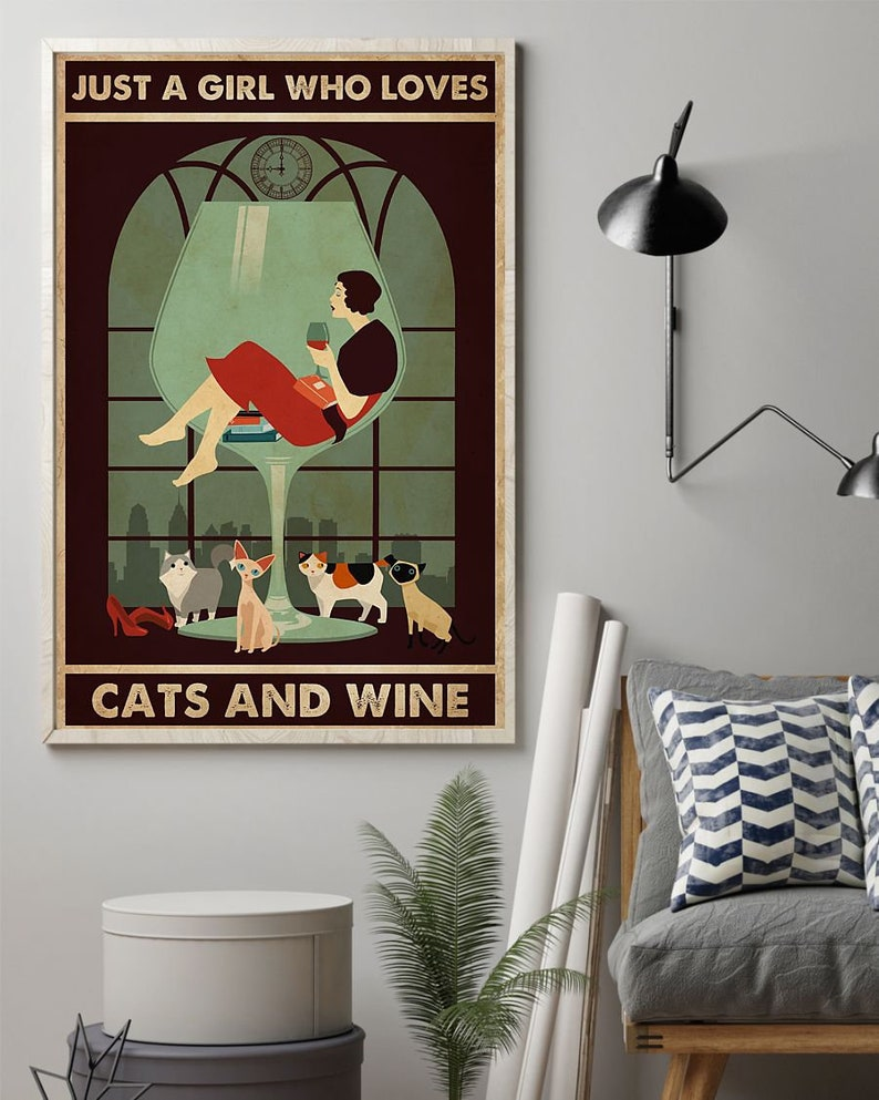 Cats And Wine Poster Retro Style Funny Kitty Poster Wall Poster