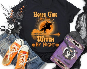 Horse Girl Witch By Night T Shirt, Halloween T Shirt, Horse Girl T Shirt, Gift For Daughter