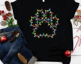 Dog Paw Christmas Shirt, Christmas Dog Shirt, Christmas Lights Shirt, Christmas Gift, Christmas Gift For Dog Lovers